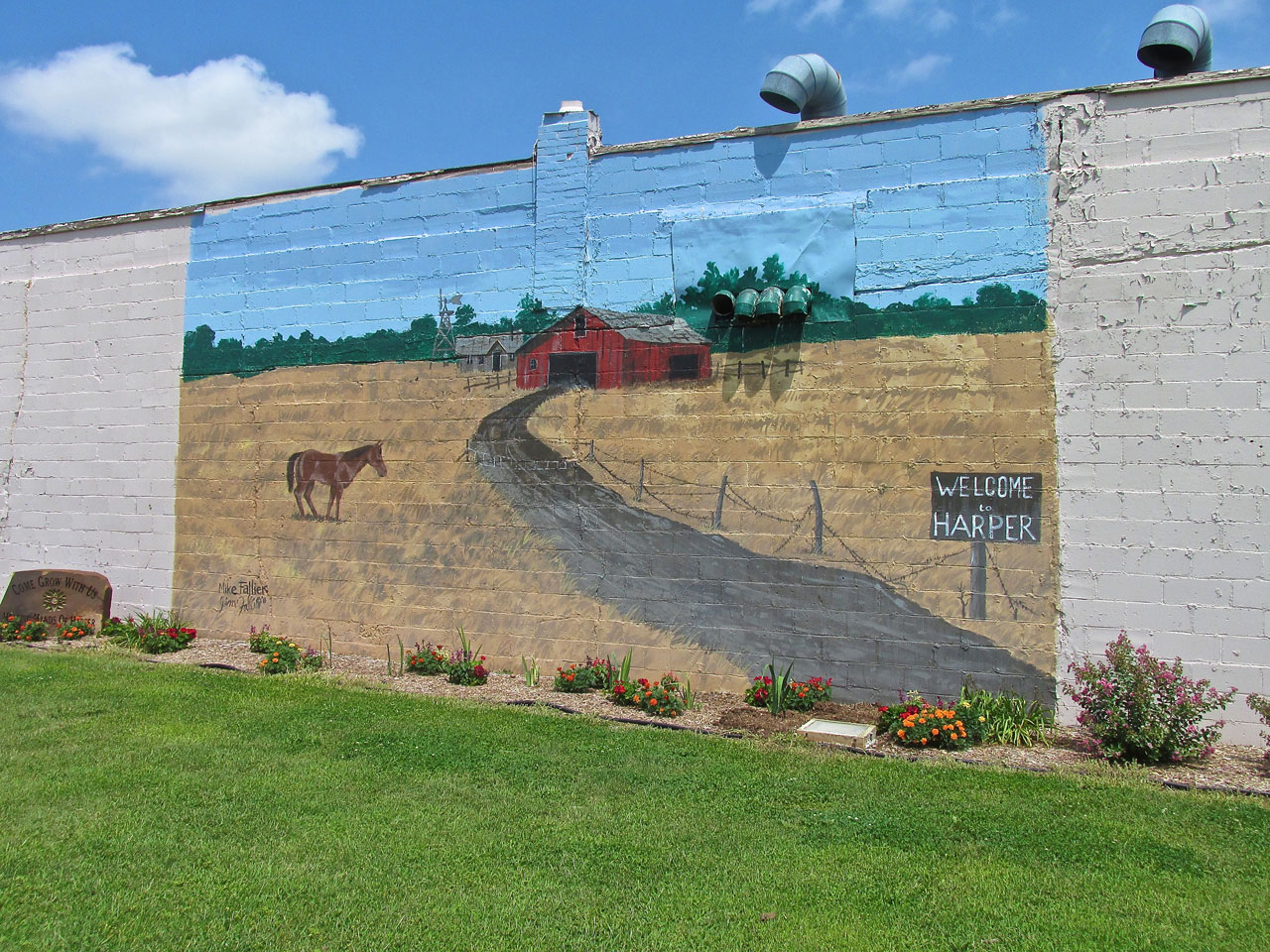 Kansas harper county danville - Obscured By The Tree In The Photo Above Was This Welcoming Mural By Mike Fallier Of Wichita Ks